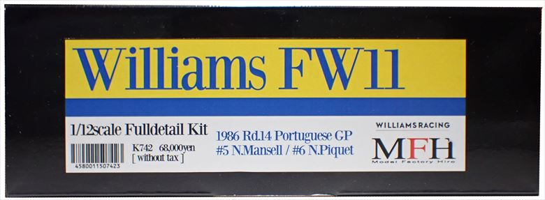K742  Williams FW11  GP 1/12scale Fulldetail kit