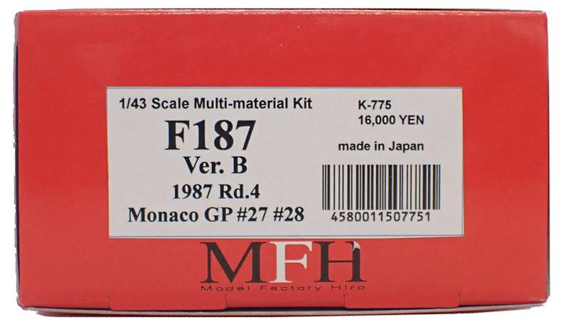 K775 【Ver.B】 F187/88C 1987 Rd.4  1/43sacle Multi-Material Kit