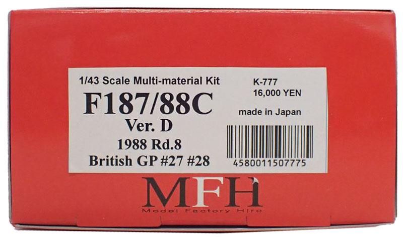 K777 【Ver.D】 F187/88C 1988 Rd.8  1/43sacle Multi-Material Kit
