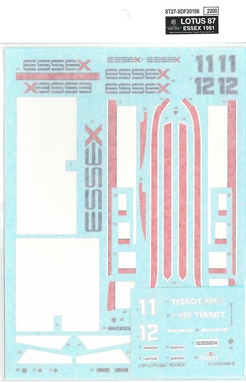 """SDF20156  1/20 ロータス87""""ESSEX""""'81"""