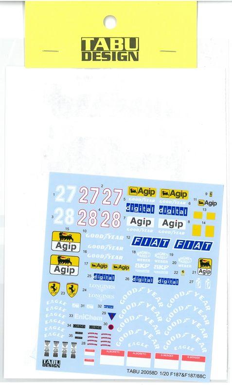 TABU20058D  1/20 F187/88C Full Sponsor (F 社1/20対応)