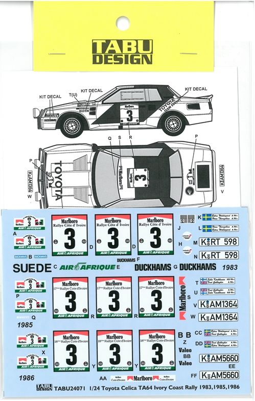 TABU24071 1/24 TA64 lvory Coast Rally 1983.1985.1986 Option(A社1/24対応)