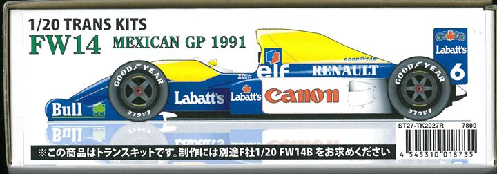 TK2027R  FW14 MEXICAN GP 1991  1/20 TRANS KITS (F社1/20 FW14B)