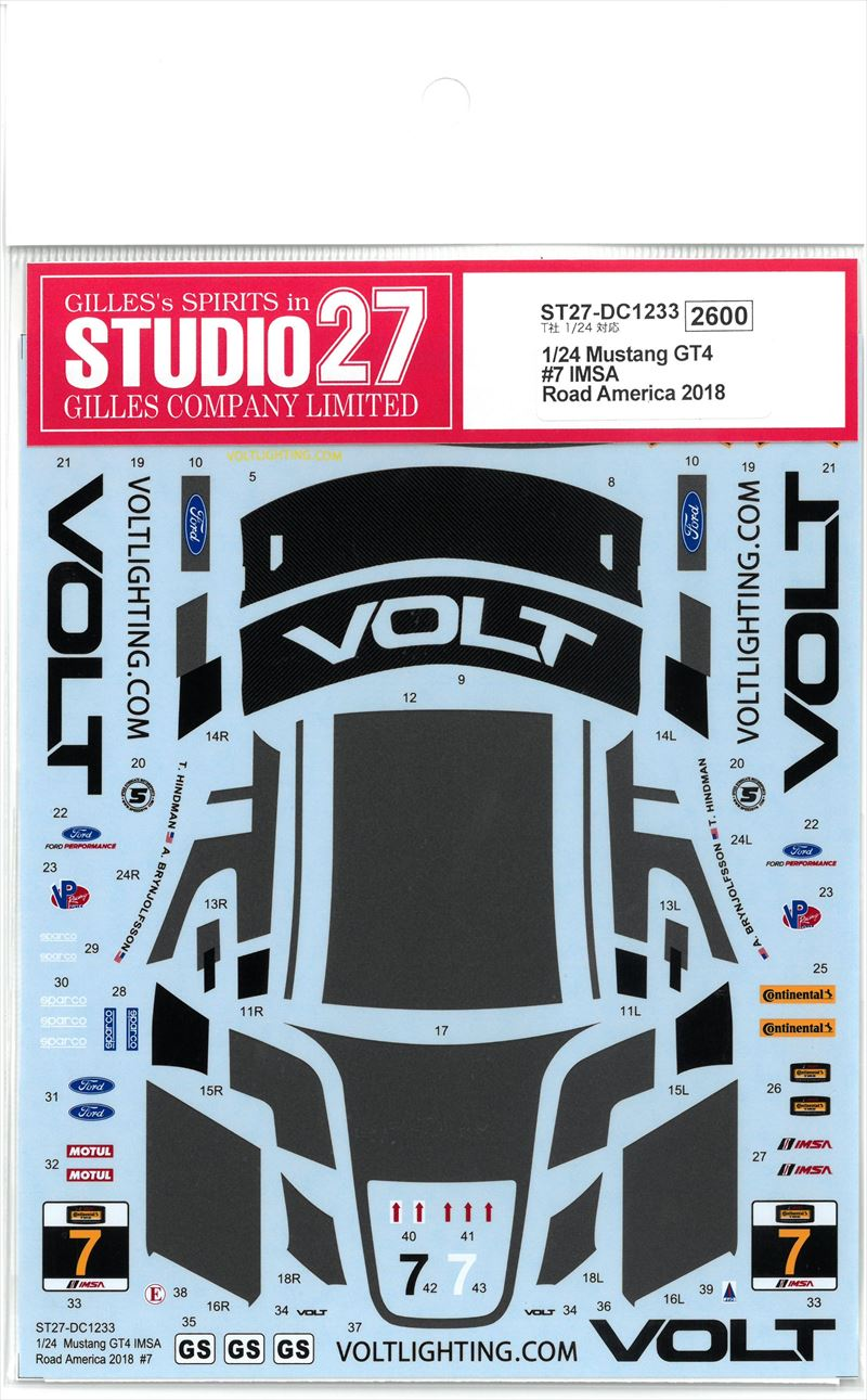 DC1233 1/24 Mustang GT4 #7 IMSA Road America 2018 (T社1/24対応)