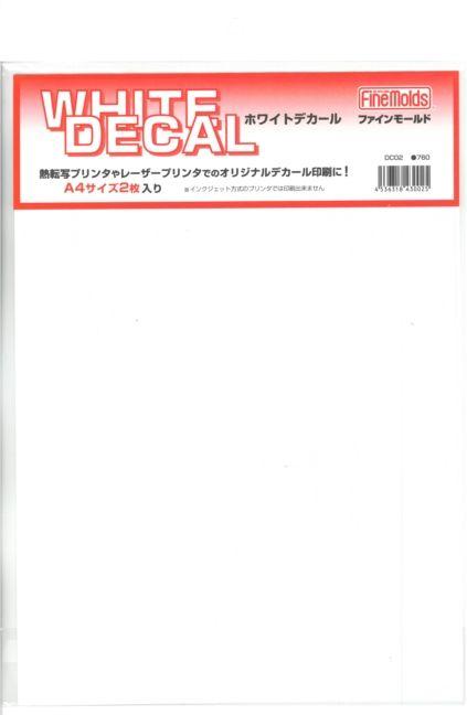 """fmdc02  ホワイトデカール """"オリジナルデカール印刷"""" 用紙 A4近似 2枚入り"""