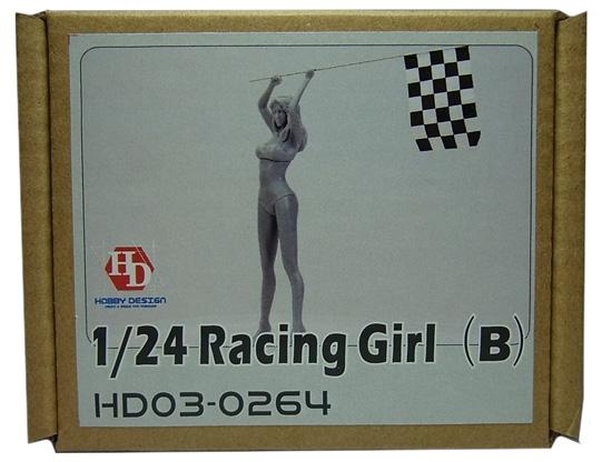 HD03-0264 1/24 レーシングチェッカーフラッグガールフィギュア(B) Racing Girls Hobbydesign