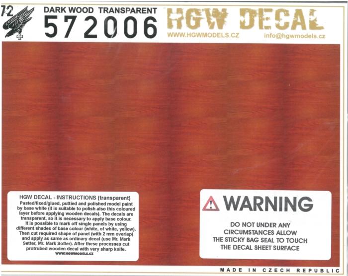 hgw572006 木目デカール ダークウッド 透明地 A5サイズ