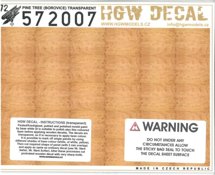 hgw572007 木目デカール 松材(ライト)透明地 A5サイズ