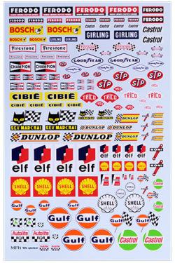 P1124 1960's Sponsor Decal   【シルク印刷デカール】 140x210mm、1枚入り