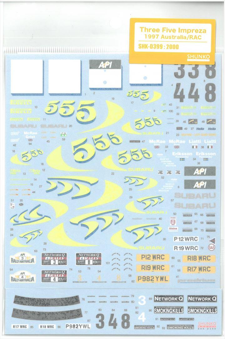 shk-d399 1/24  Three Five Impreza 1997 Australia/RAC T社1/24「フラーリF1-87/88C」対応