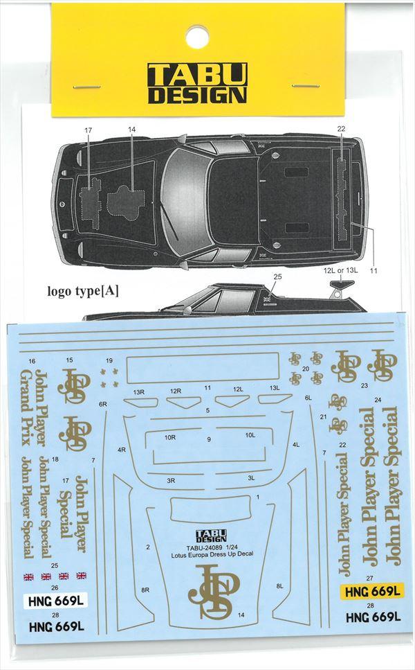 TABU24089 1/24 Lotus Europa DressUp Decal (T社1/24対応)