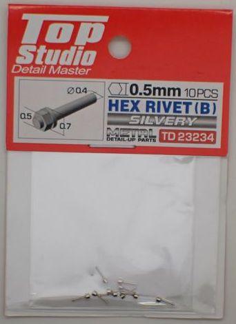 tops-td23234 HEX RIVET(B)0.5mm 10PCS DETAIL-UP PARTS(SILVERY)