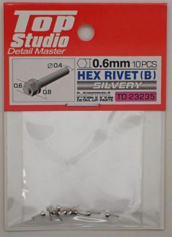tops-td23235 HEX RIVET(B)0.6mm 10PCS DETAIL-UP PARTS(SILVERY)