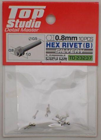 tops-td23237 HEX RIVET(B)0.8mm 10PCS DETAIL-UP PARTS(SILVERY)