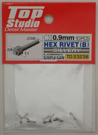 tops-td23238 HEX RIVET(B) 0.9mm 10PCS DETAIL-UP PARTS(SILVERY)