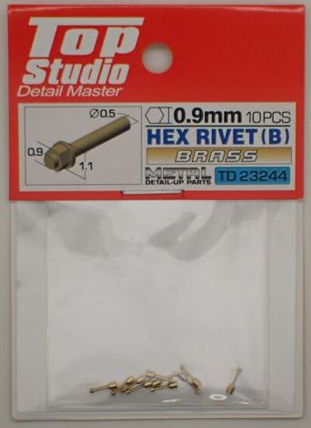 tops-td23244 HEX RIVET(B) 0.9mm 10PCS DETAIL-UP PARTS(BRASS)