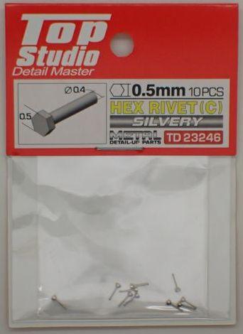 tops-td23246 HEX RIVET(C) 0.5mm 10PCS DETAIL-UP PARTS(SILVERY)