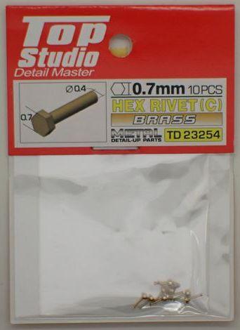 tops-td23254 HEX RIVET(C) 0.7mm 10PCS DETAIL-UP PARTS (BRASS)