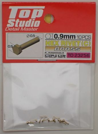 tops-td23256 HEX RIVET(C) 0.9mm 10PCS DETAIL-UP PARTS(BRASS)