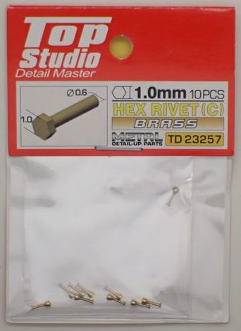 tops-td23257 HEX RIVET(C) 1.0mm 10PCS DETAIL-UP PARTS(BRASS)