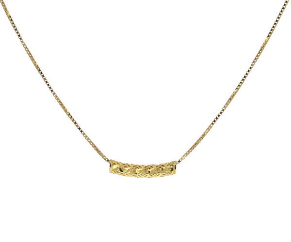 地金カーブ筒ネックレス