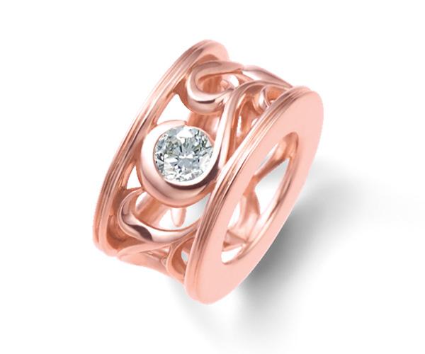 ベビーリングピンクゴールドダイヤモンド