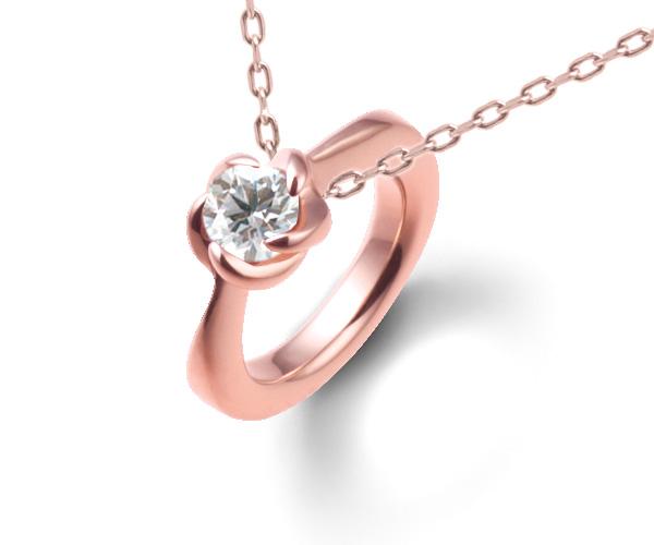 ベビーリングピンクゴールドダイヤモンドペンダント