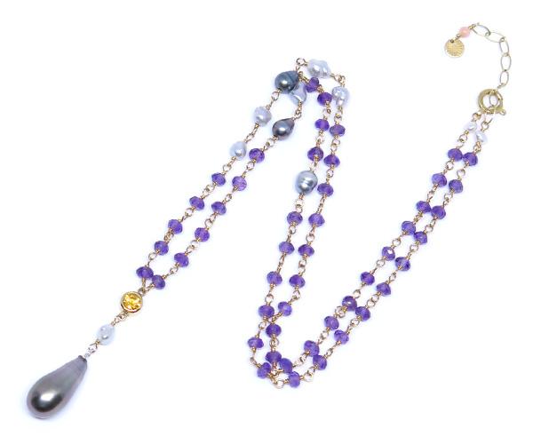 タヒチ真珠&アコヤケシパールネックレス