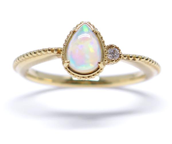 K18YGメキシコオパール/ダイヤモンドリング