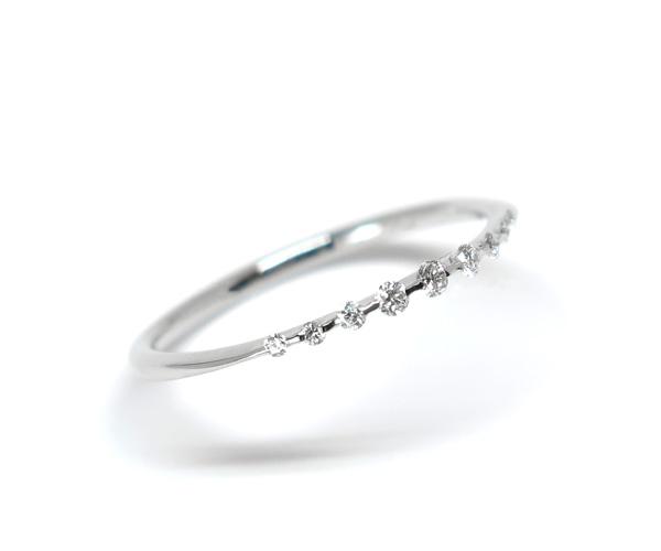ダイヤモンド2点留めリング