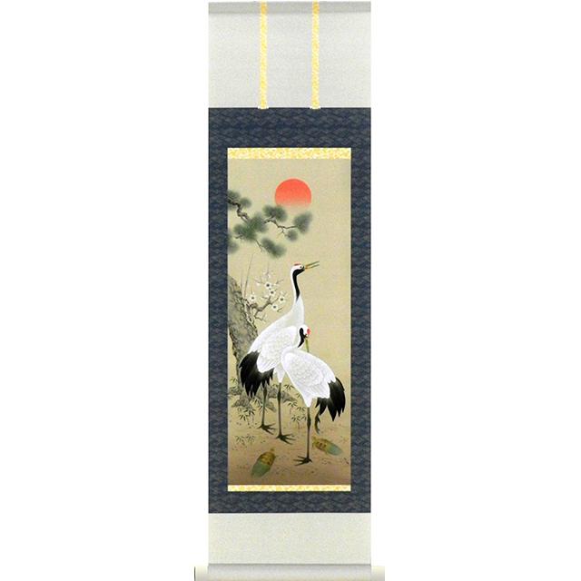 A9753 かる!Jiku 松竹梅鶴亀 ミニ掛け軸
