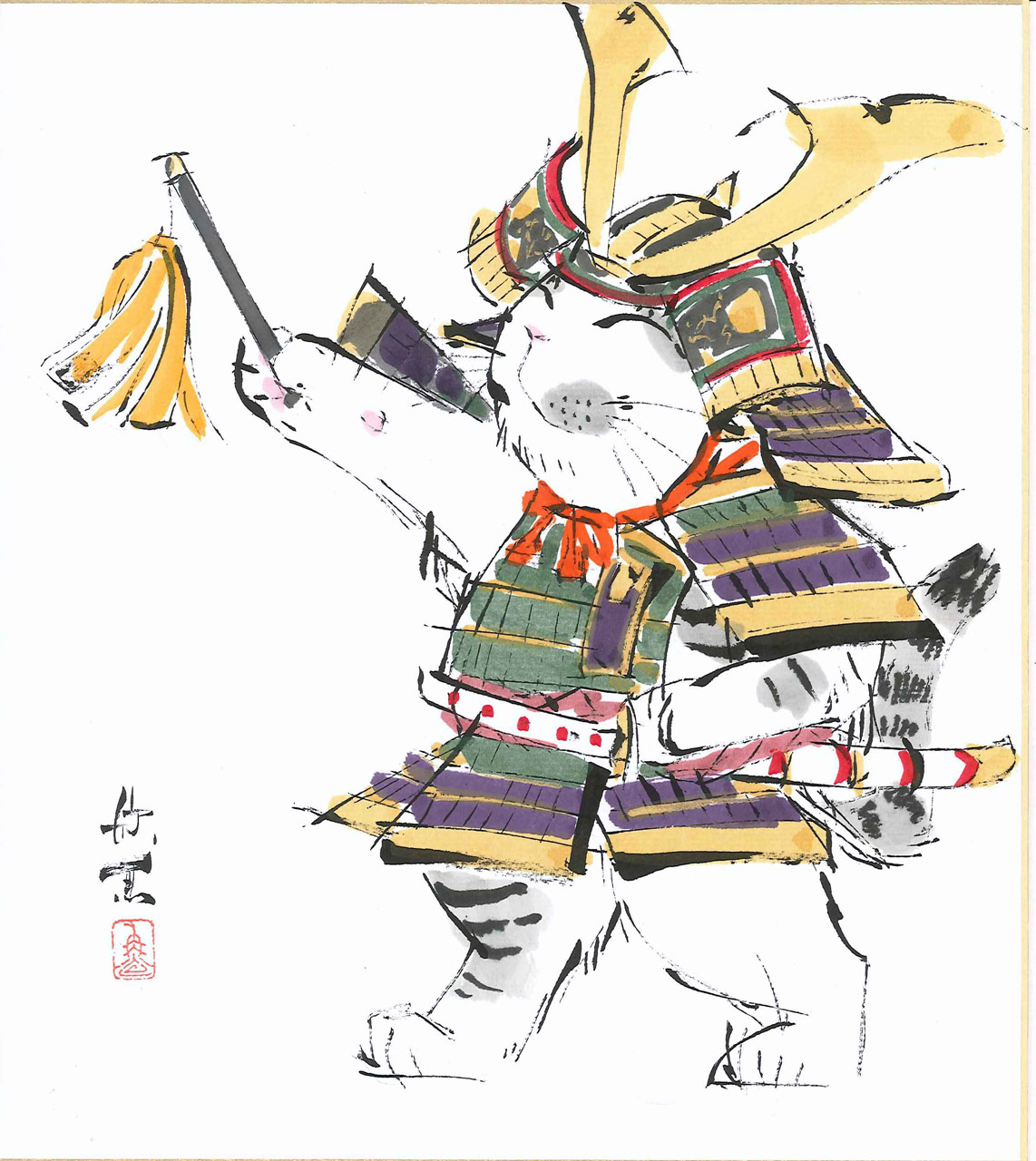 【偕拓堂】11 西村欣魚 武者猫 色紙