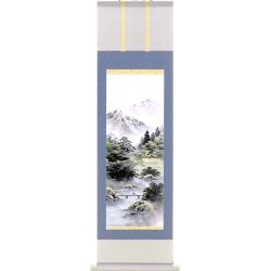 A9757 かる!Jiku 彩色山水 ミニ掛け軸