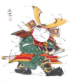 【偕拓堂】02-西村欣魚-武者-色紙