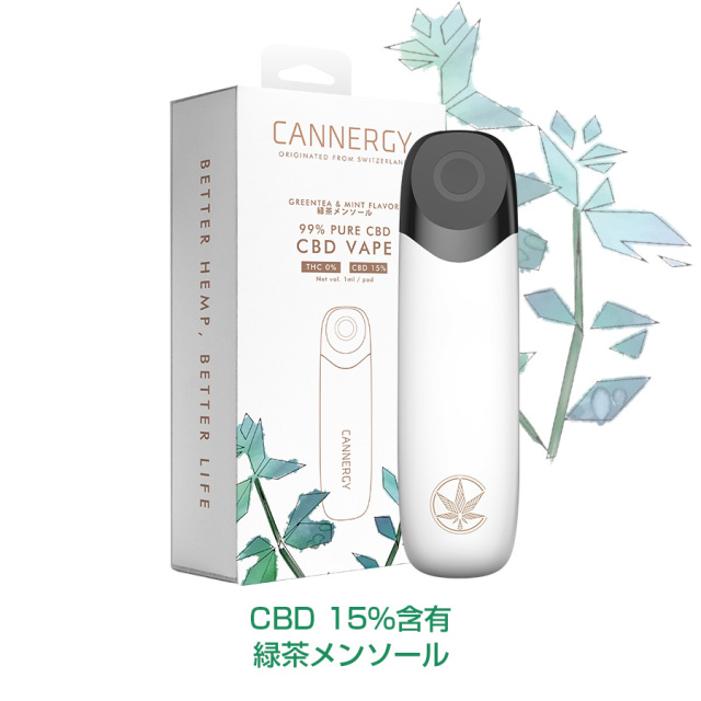 CANNERGYカナジー CBDオイル CG1専用交換Pod 緑茶メンソール CBD15%