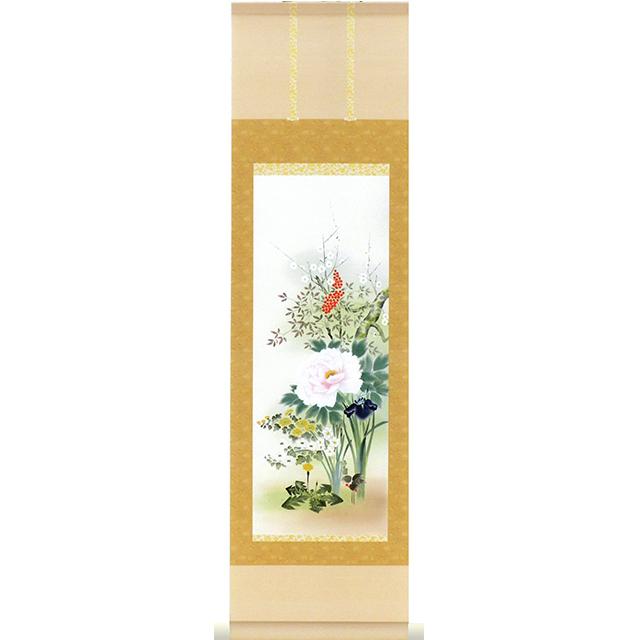 A9756 かる!Jiku 四季花 ミニ掛け軸