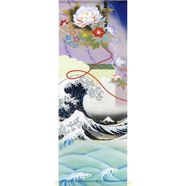 A9709 かる!Jiku 描表具 神奈川沖浪裏 丈90cm ミニ掛け軸