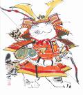 【偕拓堂】14 西村欣魚 武者猫 色紙