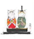 【偕拓堂】19-西村欣魚-猫ひな-色紙