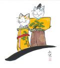 【偕拓堂】20-西村欣魚-猫ひな-色紙