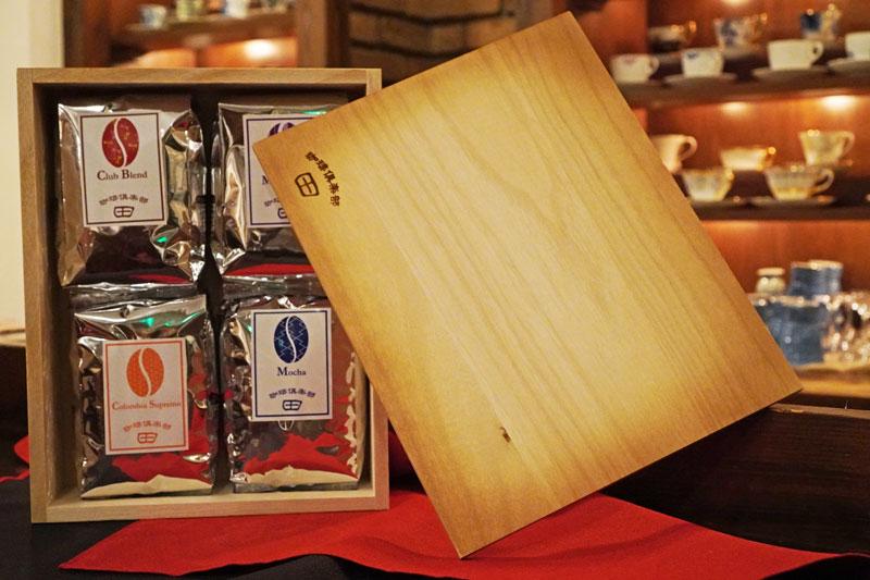 [プレミアム C ギフトセット]コーヒー豆200g×4袋 (倶楽部ブレンド + 3種類選択可能)