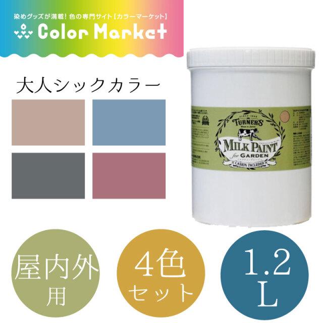 ミルクペイント for ガーデン 1.2L 大人シックカラー 4色セット(1472009-1)