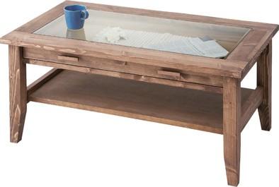 あたたかみのある天然木パインを使用したセンターテーブル アンティーク調に仕上げました。