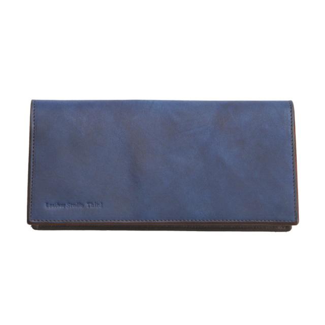 送料無料 長財布 薄型かぶせタイプ 福山レザー【アディシオン】濃藍/海 レザー 本革 藍染め 手染め  革 藍色 ギフト お祝い(1421034)