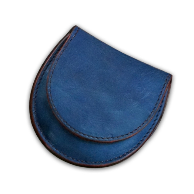 送料無料 小銭入れ コインケース 馬蹄型 福山レザー【シュヴァル】濃藍/海 藍染め 手染め  革 藍色   広島(1421040)