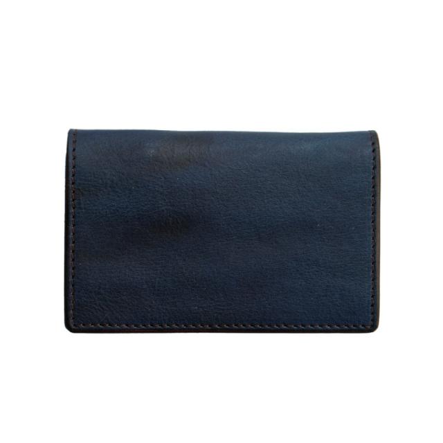 送料無料 コインケース カードケース 福山レザー【フィン】濃藍/海 藍染め 手染め  革 藍色   広島(1421042)
