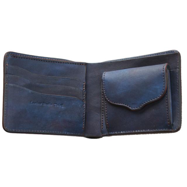 送料無料 二つ折り財布 本革 レザー 【カレ】 濃藍/海 藍染め 手染め  革 藍色   広島(1421016)