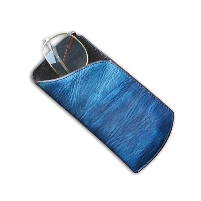 送料無料 革のメガネケース オープンタイプ 福山レザー【リュネット】濃藍/海 藍染め 手染め  革 藍色   広島(1421044)