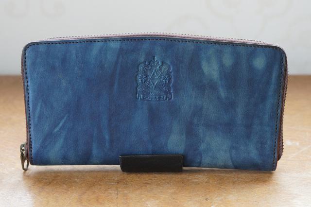 送料無料 【ロワ】濃藍/海 長財布 本革 レザー ラウンドファスナー 藍染め 手染め  革 藍色 父の日 広島