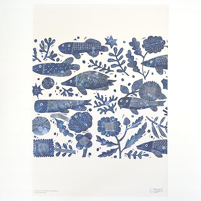鹿児島 睦/ZUAN & ZOKEI/図案ポスター(B3)/FISH & FLOWER